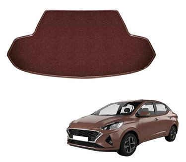 Picture of Curly Custom Fitted Car Trunk Mat for Hyundai Aura 2019 - Coffee