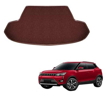 Picture of Curly Custom Fitted Car Trunk Mat for Mahindra XUV300 2019 - Coffee