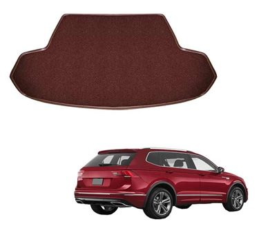 Picture of Curly Custom Fitted Car Trunk Mat for Volkswagen Tiguan 2019 - Coffee