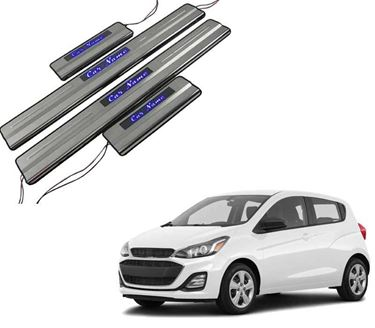 Picture of Car Door Sill Scuff Plate Foot Step for Chevrolet Spark Blue LED