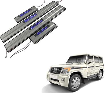 Picture of Car Door Sill Scuff Plate Foot Step for Mahindra Bolero Blue LED