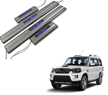 Picture of Car Door Sill Scuff Plate Foot Step for Mahindra Scorpio Blue LED
