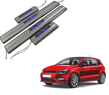 Picture of Car Door Sill Scuff Plate Foot Step for Volkswagen Polo Blue LED