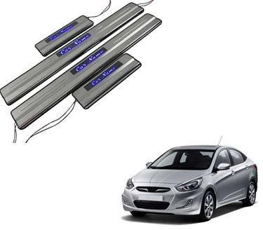 Picture of Car Door Sill Scuff Plate Foot Step for Hyundai Accent Blue LED