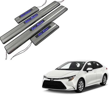 Picture of Car Door Sill Scuff Plate Foot Step for Toyota Corolla Blue LED