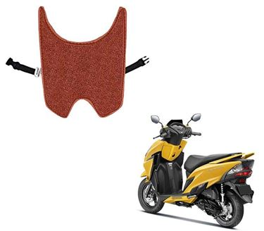 Picture of Anti Skid Curly Scooter/Scooty Foot Mats (Tan Black) for Honda Grazia