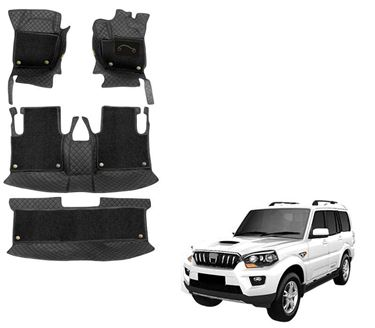 Picture of 7D Luxury Custom Fitted Car Mats For Mahindra Scorpio (Captain Seats) - Black