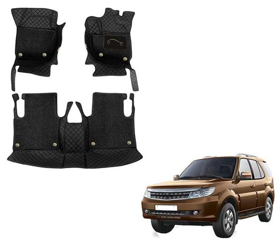 Picture of 7D Luxury Custom Fitted Car Mats For Tata Safari Storm - Black