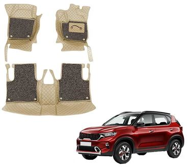 Picture of 7D Luxury Custom Fitted Car Mats For KIA Sonet 2020 - Beige