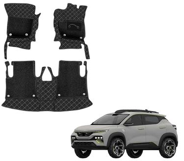 Picture of 7D Luxury Custom Fitted Car Mats For Renault Kiger 2021 - Black Beige