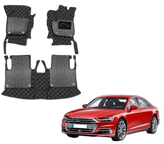 Picture of 7D Luxury Custom Fitted Car Mats For Audi A8 2013 - Black Silver