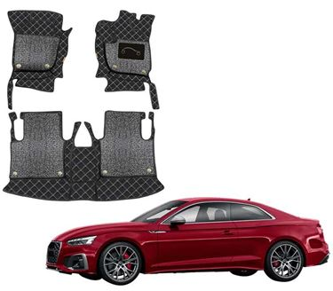 Picture of 7D Luxury Custom Fitted Car Mats For Audi S5 2020 - Black Silver