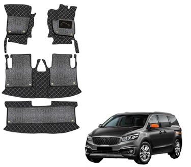 Picture of 7D Luxury Custom Fitted Car Mats For KIA Carnival (7 Seater) 2020 - Black Silver