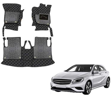 Picture of 7D Luxury Custom Fitted Car Mats For Mercedes A180 - Black Silver