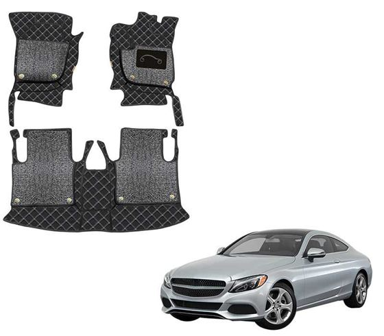Picture of 7D Luxury Custom Fitted Car Mats For Mercedes C300 2019 - Black Silver
