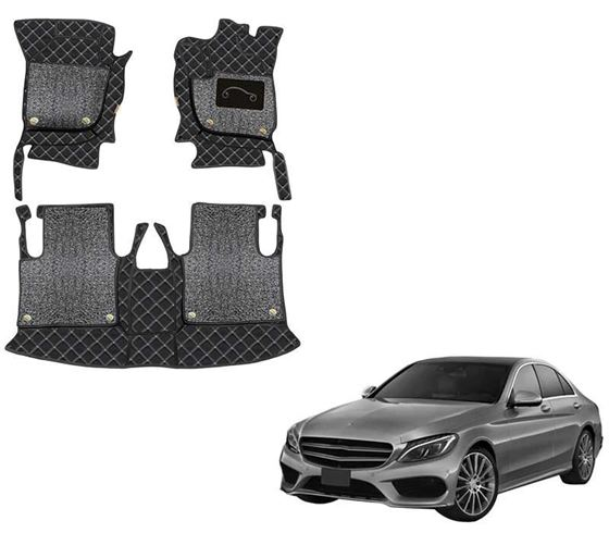 Picture of 7D Luxury Custom Fitted Car Mats For Mercedes E250 - Black Silver