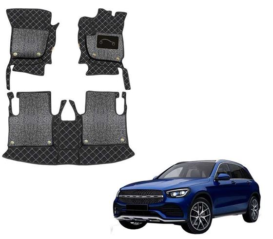 Picture of 7D Luxury Custom Fitted Car Mats For Mercedes GLC 220d 4MATIC 2020 - Black Silver