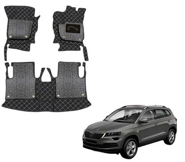 Picture of 7D Luxury Custom Fitted Car Mats For Skoda Karoq 2020 - Black Silver