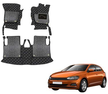 Picture of 7D Luxury Custom Fitted Car Mats For Volkswagen Polo - Black Silver