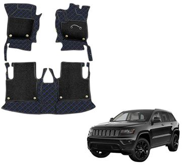 Picture of 7D Luxury Custom Fitted Car Mats For Jeep Grand Cherokee 2019 - Black Blue
