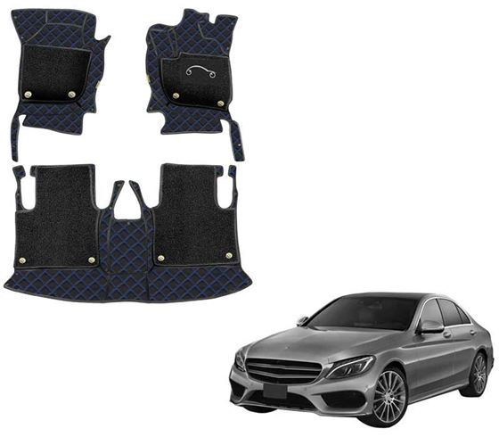 Picture of 7D Luxury Custom Fitted Car Mats For Mercedes C220 - Black Blue
