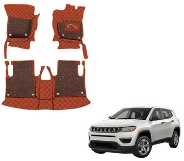 Picture of 7D Luxury Custom Fitted Car Mats For Jeep Compass - Tan Black