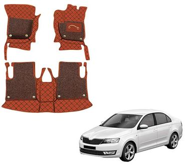 Picture of 7D Luxury Custom Fitted Car Mats For Skoda Rapid - Tan Black