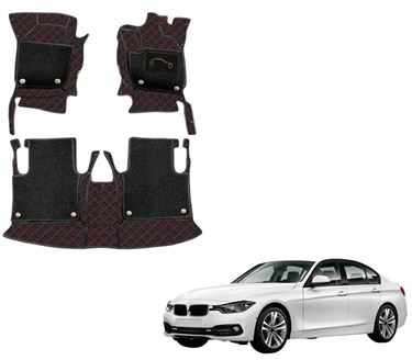 Picture of 7D Luxury Custom Fitted Car Mats For BMW 320d - Black Red