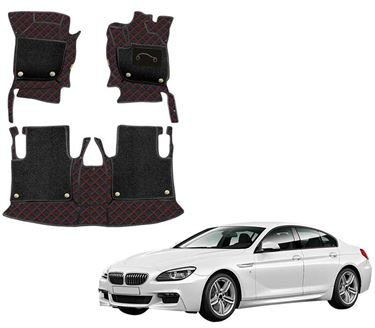 Picture of 7D Luxury Custom Fitted Car Mats For BMW 640D - Black Red
