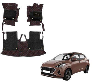 Picture of 7D Luxury Custom Fitted Car Mats For Hyundai Aura 2020 - Black Red