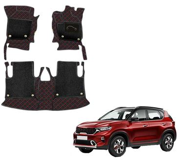 Picture of 7D Luxury Custom Fitted Car Mats For KIA Sonet 2020 - Black Red