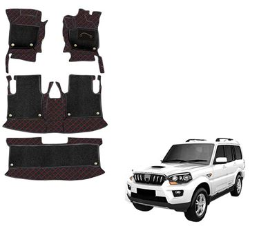 Picture of 7D Luxury Custom Fitted Car Mats For Mahindra Scorpio (Captain Seats) - Black Red