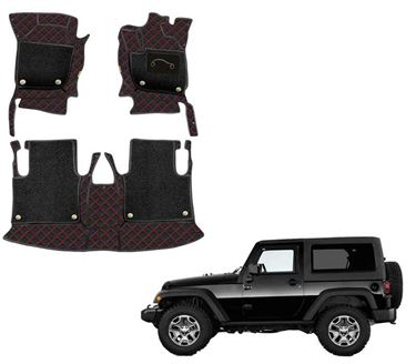 Picture of 7D Luxury Custom Fitted Car Mats For Mahindra Thar 2020 - Black Red