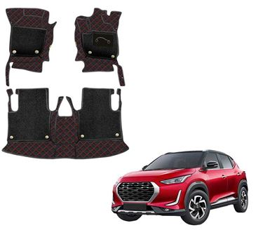 Picture of 7D Luxury Custom Fitted Car Mats For Nissan Magnite 2020 - Black Red