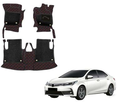 Picture of 7D Luxury Custom Fitted Car Mats For Toyota Corolla Altis 2017 - Black Red