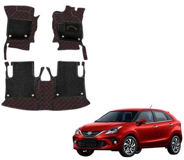 Picture of 7D Luxury Custom Fitted Car Mats For Toyota Glanza 2019 - Black Red