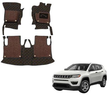 Picture of 7D Luxury Custom Fitted Car Mats For Jeep Compass - Black Tan