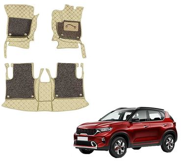 Picture of 7D Luxury Custom Fitted Car Mats For KIA Sonet 2020 - Beige Coffee