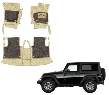 Picture of 7D Luxury Custom Fitted Car Mats For Mahindra Thar 2020 - Beige Coffee