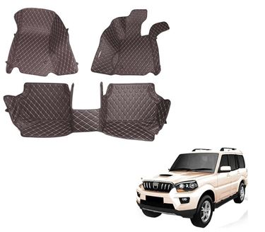 Picture of 5D Premium Custom Fitted Car Mats For Mahindra Scorpio 2019 - Coffee