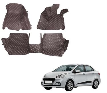 Picture of 5D Premium Custom Fitted Car Mats For Hyundai Xcent 2016 - Coffee