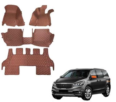 Picture of 5D Premium Custom Fitted Car Mats For KIA Carnival (7 Seater) 2020 - Tan
