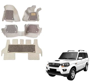 Picture of ULS 7D Economy Custom Fitted Car Mats For Mahindra Scorpio (Captain Seats) - Beige