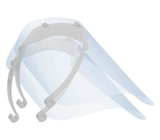 Picture of Mototrance Anti-Splash Face Shield with Adjustable Elastic Strap Protective Facial Cover Transparent Full Face Visor with Eye & Head Protection (Made in INDIA) - Set of 2