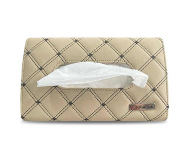 Picture of 7D Car Sun Visor Tissue Holder Box with Free Tissues - Beige Coffee