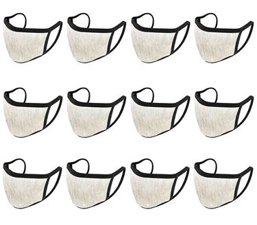 Picture of Unisex Pure Cotton Cloth Protective Anti-pollution, Washable, Reusable Face Cover Cloth for Men and Women - Color Light Grey (Set of 12)