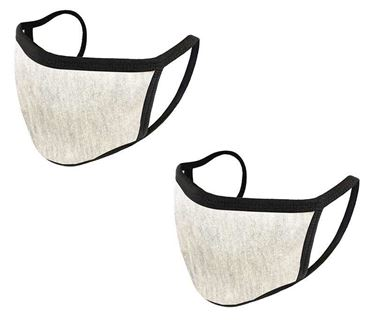 Picture of Unisex Pure Cotton Cloth Protective Anti-pollution, Washable, Reusable Face Cover Cloth for Men and Women - Color Light Grey (Set of 2)