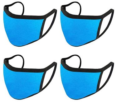 Picture of Unisex Pure Cotton Cloth Protective Anti-pollution, Washable, Reusable Face Cover Cloth for Men and Women - Color Aqua Blue (Set of 4)