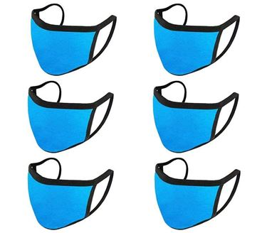 Picture of Unisex Pure Cotton Cloth Protective Anti-pollution, Washable, Reusable Face Cover Cloth for Men and Women - Color Aqua Blue (Set of 6)