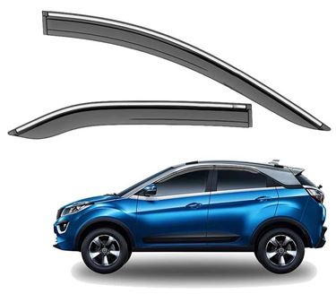 Picture of GFX Car Window Door Wind Visor with Silver Chrome Line for Tata Nexon 2016 Onwards